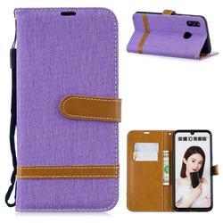 Jeans Cowboy Denim Leather Wallet Case for Huawei P Smart (2019) - Purple