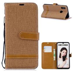 Jeans Cowboy Denim Leather Wallet Case for Huawei P Smart (2019) - Brown