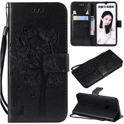 Embossing Butterfly Tree Leather Wallet Case for Huawei P Smart (2019) - Black