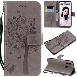 Embossing Butterfly Tree Leather Wallet Case for Huawei P Smart (2019) - Grey
