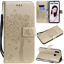 Embossing Butterfly Tree Leather Wallet Case for Huawei P Smart (2019) - Champagne