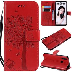 Embossing Butterfly Tree Leather Wallet Case for Huawei P Smart (2019) - Red