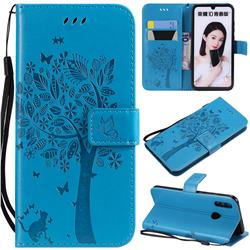Embossing Butterfly Tree Leather Wallet Case for Huawei P Smart (2019) - Blue