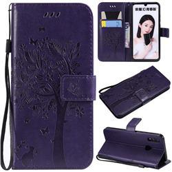Embossing Butterfly Tree Leather Wallet Case for Huawei P Smart (2019) - Purple