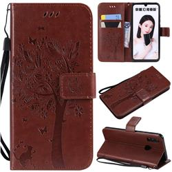 Embossing Butterfly Tree Leather Wallet Case for Huawei P Smart (2019) - Coffee