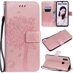 Embossing Butterfly Tree Leather Wallet Case for Huawei P Smart (2019) - Rose Pink