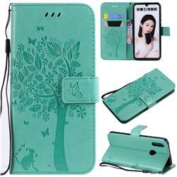 Embossing Butterfly Tree Leather Wallet Case for Huawei P Smart (2019) - Cyan