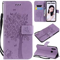 Embossing Butterfly Tree Leather Wallet Case for Huawei P Smart (2019) - Violet