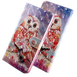 Colored Owl 3D Painted Leather Wallet Case for Huawei P Smart (2019)