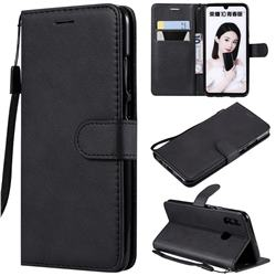 Retro Greek Classic Smooth PU Leather Wallet Phone Case for Huawei P Smart (2019) - Black