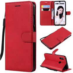 Retro Greek Classic Smooth PU Leather Wallet Phone Case for Huawei P Smart (2019) - Red