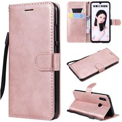 Retro Greek Classic Smooth PU Leather Wallet Phone Case for Huawei P Smart (2019) - Rose Gold