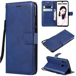 Retro Greek Classic Smooth PU Leather Wallet Phone Case for Huawei P Smart (2019) - Blue