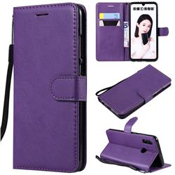 Retro Greek Classic Smooth PU Leather Wallet Phone Case for Huawei P Smart (2019) - Purple