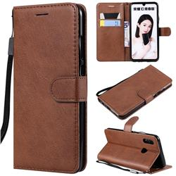 Retro Greek Classic Smooth PU Leather Wallet Phone Case for Huawei P Smart (2019) - Brown