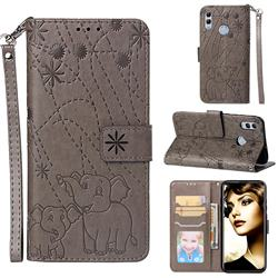 Embossing Fireworks Elephant Leather Wallet Case for Huawei P Smart (2019) - Gray