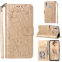 Embossing Fireworks Elephant Leather Wallet Case for Huawei P Smart (2019) - Golden