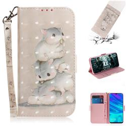 Three Squirrels 3D Painted Leather Wallet Phone Case for Huawei P Smart (2019)