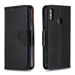 Classic Luxury Litchi Leather Phone Wallet Case for Huawei P Smart (2019) - Black