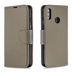 Classic Luxury Litchi Leather Phone Wallet Case for Huawei P Smart (2019) - Gray
