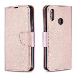 Classic Luxury Litchi Leather Phone Wallet Case for Huawei P Smart (2019) - Golden