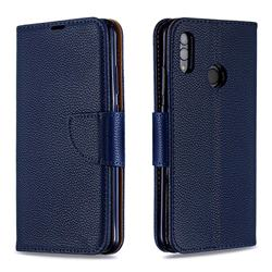 Classic Luxury Litchi Leather Phone Wallet Case for Huawei P Smart (2019) - Blue