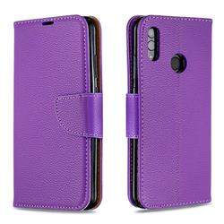 Classic Luxury Litchi Leather Phone Wallet Case for Huawei P Smart (2019) - Purple
