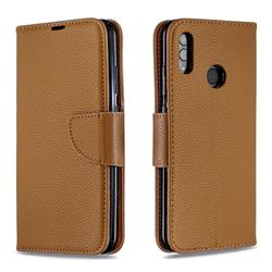 Classic Luxury Litchi Leather Phone Wallet Case for Huawei P Smart (2019) - Brown