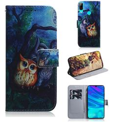 Oil Painting Owl PU Leather Wallet Case for Huawei P Smart (2019)
