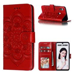 Intricate Embossing Datura Solar Leather Wallet Case for Huawei P Smart (2019) - Red