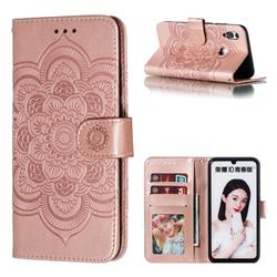 Intricate Embossing Datura Solar Leather Wallet Case for Huawei P Smart (2019) - Rose Gold