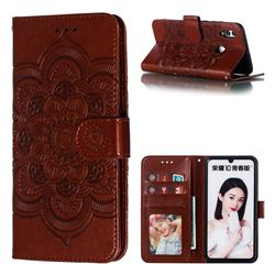 Intricate Embossing Datura Solar Leather Wallet Case for Huawei P Smart (2019) - Brown