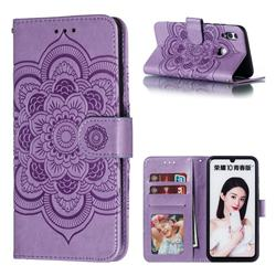 Intricate Embossing Datura Solar Leather Wallet Case for Huawei P Smart (2019) - Purple