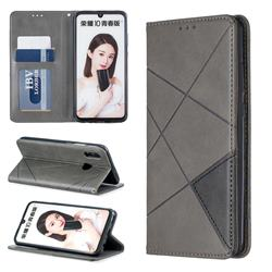 Prismatic Slim Magnetic Sucking Stitching Wallet Flip Cover for Huawei P Smart (2019) - Gray