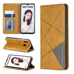 Prismatic Slim Magnetic Sucking Stitching Wallet Flip Cover for Huawei P Smart (2019) - Yellow
