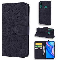 Retro Embossing Mandala Flower Leather Wallet Case for Huawei P Smart (2019) - Black