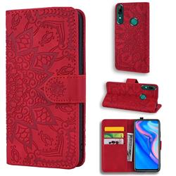 Retro Embossing Mandala Flower Leather Wallet Case for Huawei P Smart (2019) - Red