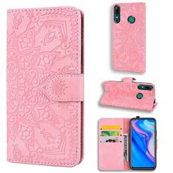 Retro Embossing Mandala Flower Leather Wallet Case for Huawei P Smart (2019) - Pink