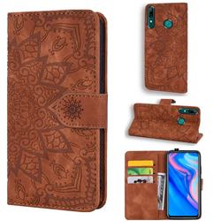Retro Embossing Mandala Flower Leather Wallet Case for Huawei P Smart (2019) - Brown