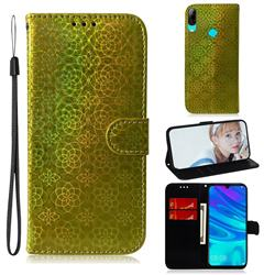 Laser Circle Shining Leather Wallet Phone Case for Huawei P Smart (2019) - Golden