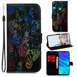 Black Butterfly Laser Shining Leather Wallet Phone Case for Huawei P Smart (2019)
