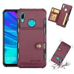 Brush Multi-function Leather Phone Case for Huawei P Smart (2019) - Wine Red