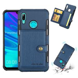 Brush Multi-function Leather Phone Case for Huawei P Smart (2019) - Blue