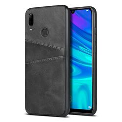 Simple Calf Card Slots Mobile Phone Back Cover for Huawei P Smart (2019) - Black
