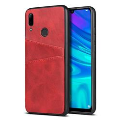Simple Calf Card Slots Mobile Phone Back Cover for Huawei P Smart (2019) - Red