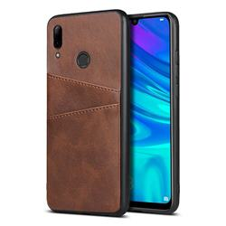 Simple Calf Card Slots Mobile Phone Back Cover for Huawei P Smart (2019) - Coffee