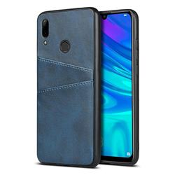 Simple Calf Card Slots Mobile Phone Back Cover for Huawei P Smart (2019) - Blue
