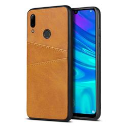 Simple Calf Card Slots Mobile Phone Back Cover for Huawei P Smart (2019) - Yellow
