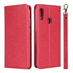 Ultra Slim Magnetic Automatic Suction Silk Lanyard Leather Flip Cover for Huawei P Smart (2019) - Red