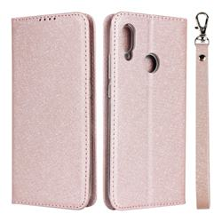 Ultra Slim Magnetic Automatic Suction Silk Lanyard Leather Flip Cover for Huawei P Smart (2019) - Rose Gold